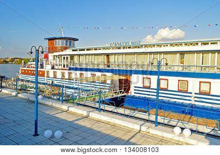 VELIKY NOVGOROD RUSSIA - MAY 3 2016. Casa Del Mar ship restaurant at the bank of the Volkhov river colorful facade view