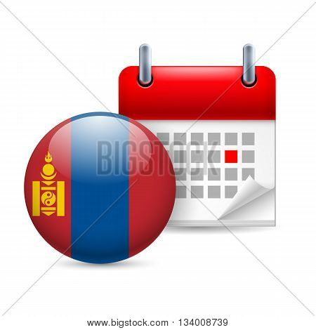 Calendar and round Mongolian flag icon. National holiday in Mongolia