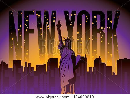banner with of New York City Statue at night star sky