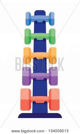 Stand with dumbbells stack in a gym center