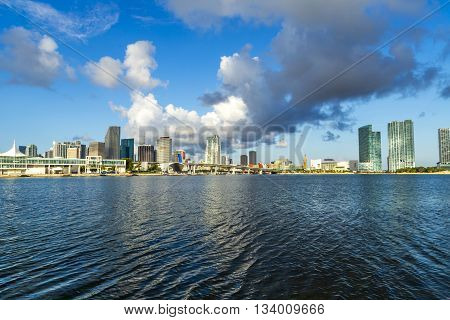 MIAMI, USA - JUNE 3, 2013: skyline of Miami Florida with the water of Biscayne Bay. Panoramic skyline of the World famous travel location