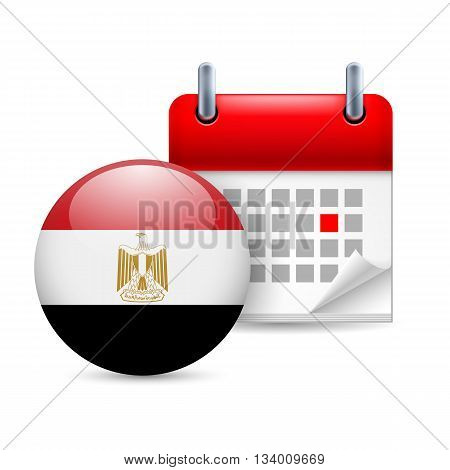 Calendar and round Egyptian flag icon. National holiday in Egypt