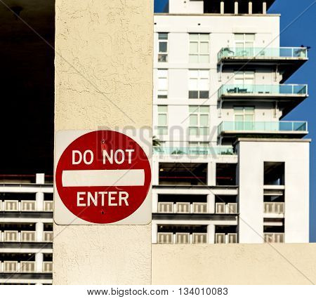 Do Not Enter Sign At A Private Parking Space