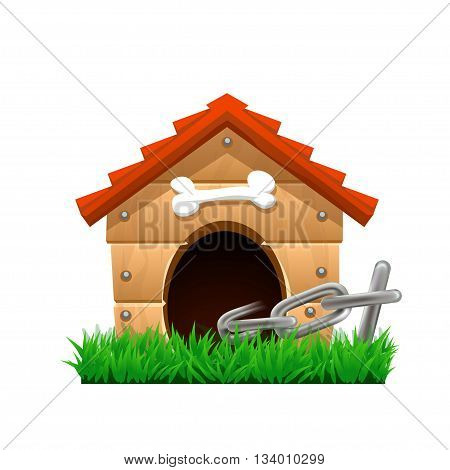 illustration of dog house with chain on green grass