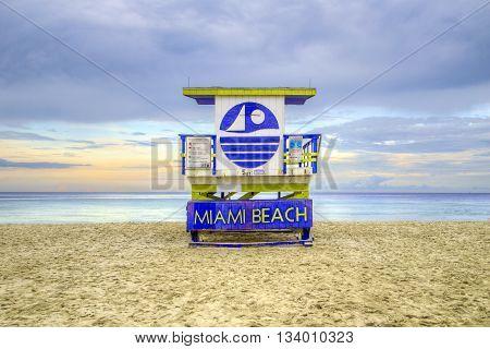 MIAMI, USA - JUNE 3, 2012: wooden beach hut in Art deco style im south beach