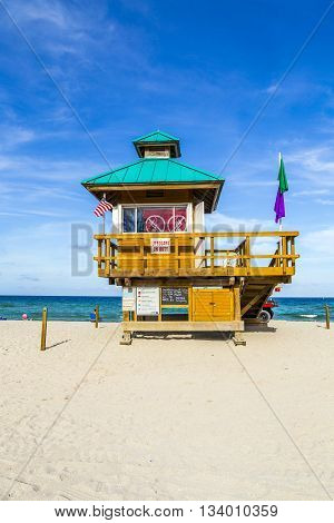 SUNNY ISLES BEACH, USA - AUG 3, 2012: Sunny Isles beach protected by guards in famous life guards huts