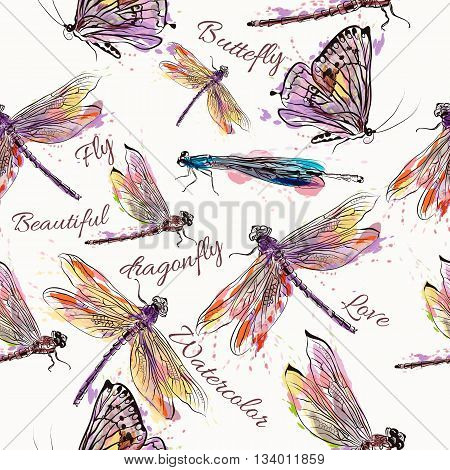 Beautiful seamless pattern or background with dragonfly in watercolor style painted by spots