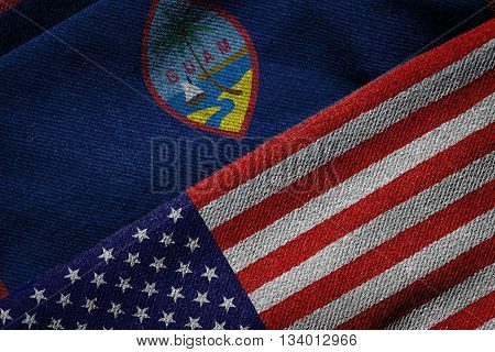 Flags Of Usa And Guam On Grunge Texture