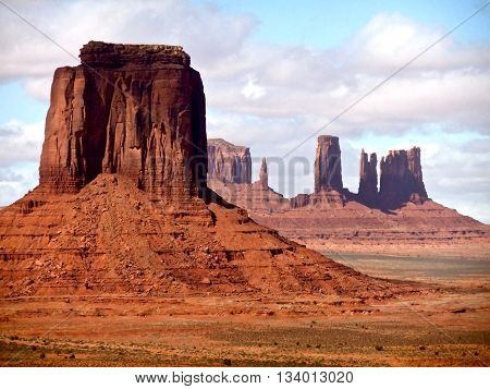 Monument Valley Rock Formations under cloudy sky