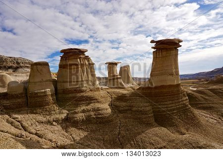 Hoodoo formations in the Badlands of Drumheller, Alberta