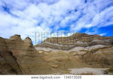 hoodoos and stratified layers in the badlands