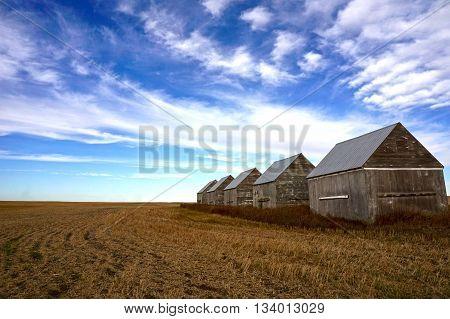 Big Prairie Sky over empty farm field