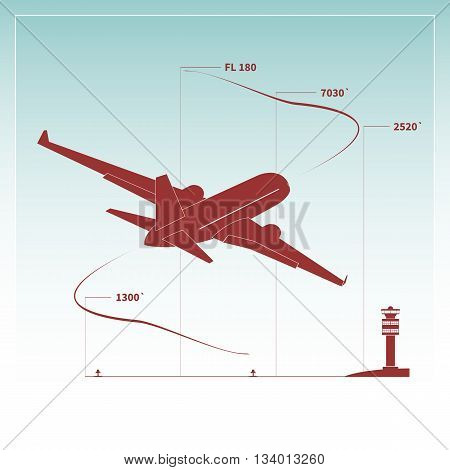 Aircraft climbs after take off. Vector illustration