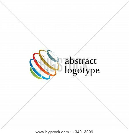 Isolated abstract colorful color vector logo. Spinning spiral circles logotype.