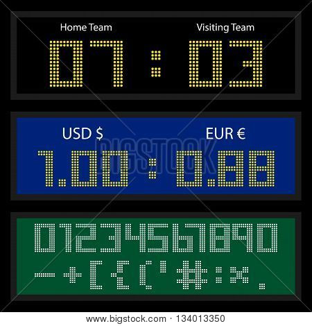 Digital LED display board for currency exchange rates or sport score counting. Set of dotted numbers and special symbols. Vector illustration