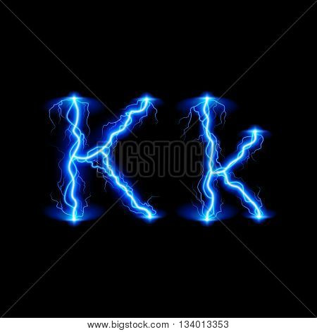 Uppercase and lowercase letters K in lighting style