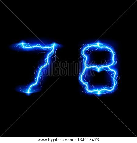 Numbers 7 and 8 in lighting style