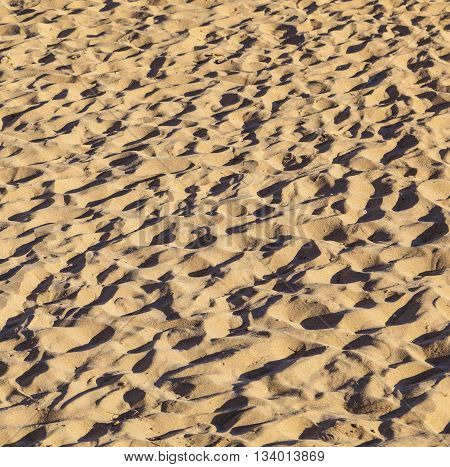 human footsteps at the sandy beautiful beach