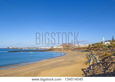Beach Of Playa Blanca Without People In Early Morning