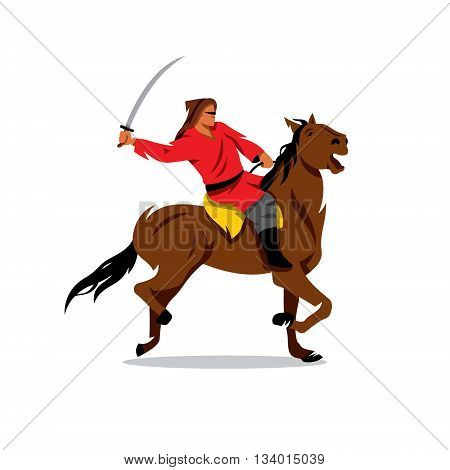 Rider with sword Isolated on a White Background