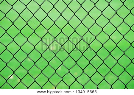 chain link fence in front of green lawn