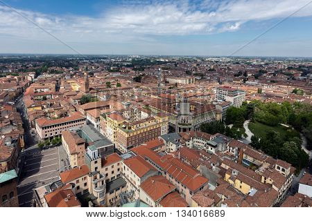 CREMONA ITALY - APRIL 26 2016: Aerial view of the city of Cremona from the top of Torrazzo the 14th century bell tower of the Cremona Cathedral