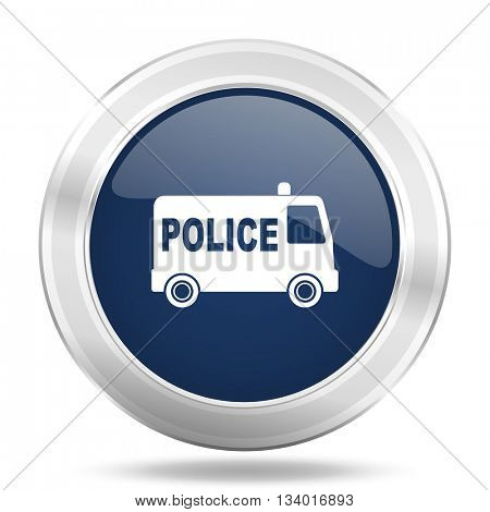 police icon, dark blue round metallic internet button, web and mobile app illustration