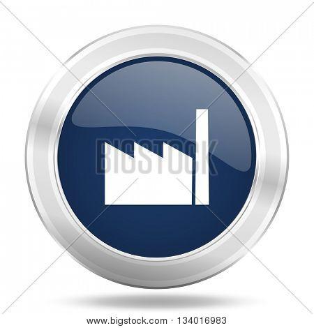 factory icon, dark blue round metallic internet button, web and mobile app illustration