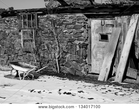 A cold storage building with old gardening tools long abandoned in Brothers, Oregon.