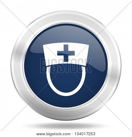 nurse icon, dark blue round metallic internet button, web and mobile app illustration