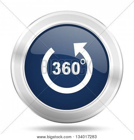 panorama icon, dark blue round metallic internet button, web and mobile app illustration