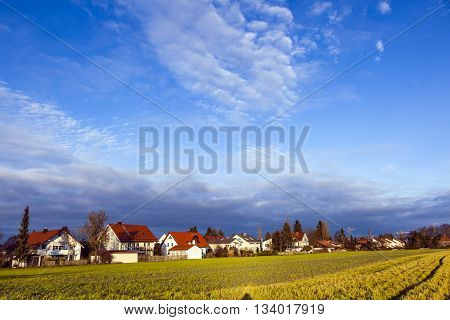 Rural Landscape In Munich With New Settlement And Fields