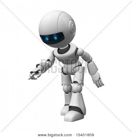 Funny robot stay walk