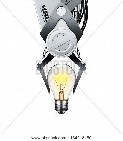 Claw Machine Lifting Glowing Light Bulb over white background - 3D Rendering