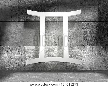 The twins astrology sign. Empty concrete interior. 3D rendering