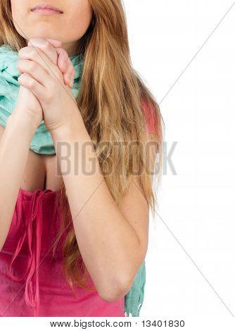 Young Girl Wishing Something