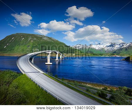 Norway famous bridge with mountains in background. Norway road. Norway Nature. Norway river.
