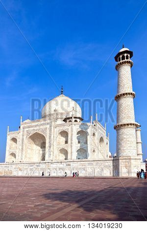 Taj Mahal in Agra from outside on a bright summer day