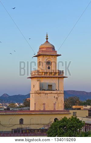 JAIPUR, INDIA - JUNE 3, 2012: famous clocktower in Jaipur in sunset