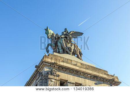 Monument to Kaiser Wilhelm I (Emperor William) on Deutsches Ecke (German Corner) in Koblenz Germany.