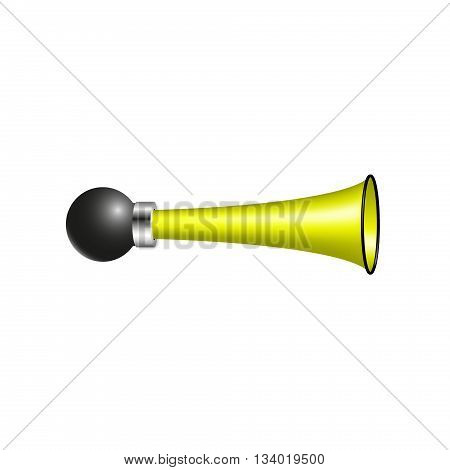 Vintage air horn in yellow design on white background