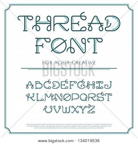 Vector trendy flat font with abstract lines. Latin alphabet from A to Z. Beautiful typeface with capital letters. Thread line sign. Creative curved symbols.