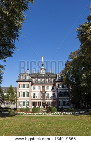 FRANKFURT - GERMANY - APR 5, 2012: famous Bolongaro Park with the baroque castle