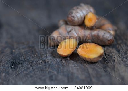 Turmeric Roots.Group of turmeric roots isolated on white background.