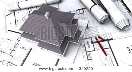 House On Top Or Architect'S Plans