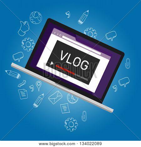 vlog video blogging vector drawing illustration laptop online