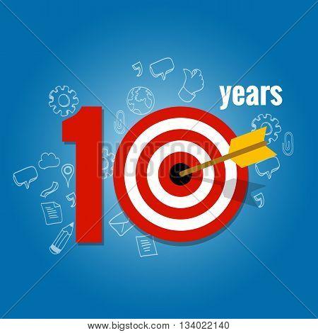ten years target and plan in business calendar list of achievement vector