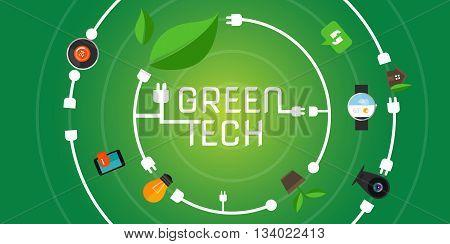 green tech eco environment friendly technology vector illustration