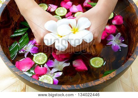 Natural flowers in bowl for spa treatments.