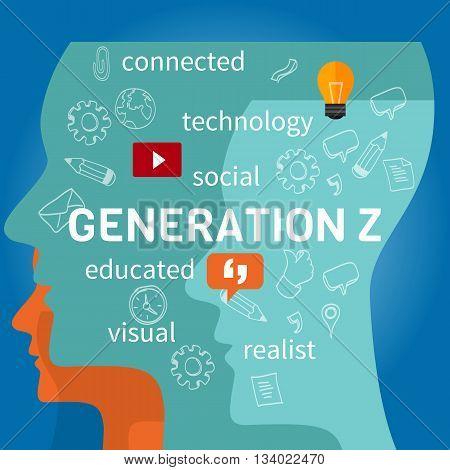 generation z connected concept vector illustration marketing